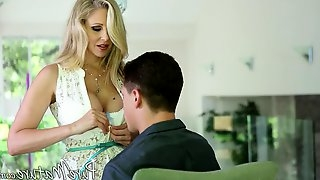 Sultry milf in a white lace dress fucked by his big cock