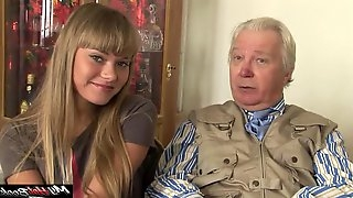 Nesti Shy and Sveta enjoying the touch of an older man