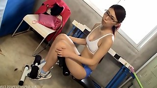 Shy nerdy babe Hitomi Madoka puts a wiener in her juicy mouth