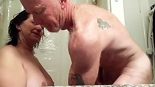 Milf sucking hubby in bathroom