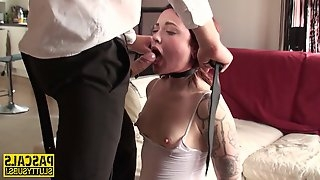 Young wench dominated end throated