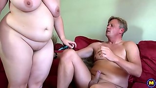 Fat British brunette, Sarah Jane is always in the mood to ride a rock hard cock