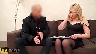 Lustful blondie with plump booty Maria Hurricane gets fucked for debt